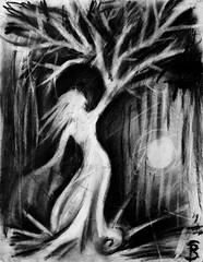 Requiem for M. (Skyler Brown Art) Tags: angst art artwork bw blackwhite blackandwhite charcoal creepy dark darkness depressing drawing fear female ghost girl gothic greyscale macabre moon ominous paper people sad surreal tree trees woman