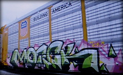 (timetomakethepasta) Tags: motick tom freight train graffiti art up union pacific autorack