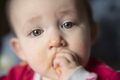 Lunch time! (HattyGlaird) Tags: baby babygirl food lunchtime macro semimacro macrofilter 50mm18 cute closeup portrait children child eating carrots lunch dinner meal time messy