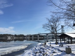 a majestic SunDay (no. 1) (77ahavah77) Tags: winter maine bath sunday sun light white blue kinnebec river water park bridge sky snow ice outside landscape nature
