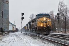 CSX 159 - Quincy, OH (Wheelnrail) Tags: csx ge train trains locomotive coal loco quincy ohio oh yn2 tri light signal indianapolis line subdivision grain elevator