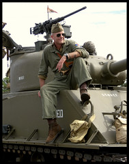 Sherman Tanker (Dusty_73) Tags: world war 2 ii wwii ww2 m4 m4a3 sherman tank 105mm united states army us reenactor tanker soldier stuart florida fl air show airshow witham field military vehicle browning m2 ma duece machine gun kodak az901 history historical armor armored militaria