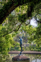 Something Magical (dayman1776) Tags: diana goddess greek roman myth mythology mythological archer bronze green sculpture escultura statue skulptur sculptor sculptures garden gardens brookgreen south carolina female nude naked beautiful amazing tree shadow shadows sunset hdr high dynamic resolution fountain pond gorgeous museum art artist
