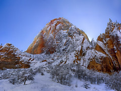 Before Sunrise: Zion National Park in the Snow (swissuki) Tags: zion national nature park landscape mountain sky snow usa ut utah supershot