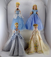 The Disney Limited Edition Cinderella Dolls - Complete Collection (drj1828) Tags: cinderella animated liveactionfilm doll limitededition collectible 17inch deboxed complete groupphoto