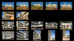 Jurong Town Hall Contact Sheet (Scintt) Tags: singapore contrast directional golden orange warm yellow architecture building structure lines facade dramatic surreal design construction modernist light glow sun wideangle nikon estate space urban exploration modern scintillation scintt jonchiangphotography windows walls concrete corridor texture public real garden sky clouds green blue city cityscape skyline colourful jurongtownhall silhouette shadow self grass field morning early dawn frames contactsheet