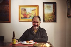 La comida frugal (PeterThoeny) Tags: sanjose california usa siliconvalley sanfranciscobay sanfranciscobayarea southbay portrait man table supper dinner wall painting beer drink indoors bokeh blur sony a7 a7ii a7mii alpha7mii ilce7m2 fullframe vintagelens dreamlens canon50mmf095 canon 1xp raw photomatix hdr qualityhdr qualityhdrphotography fav50