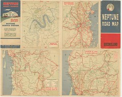 Neptune Road Map of Queensland - circa 1950's (davemail66) Tags: neptune road map queensland circa 1950s brisbane roads highways oil company petroleum service station