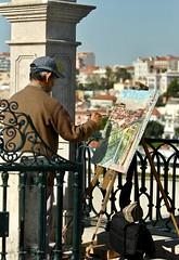 Painting Lisbon from São Pedro de Alcantara Belvedere (pedrosimoes7) Tags: sãopedrodealcantara lisboa lisbon lisboanarua lisbonne portugal painting pintando