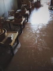wet floors (blakeboulka) Tags: ceramics art studio clay wheel pottery wet floors glare light closing