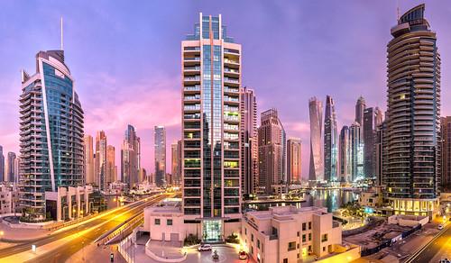 Dubai Marina sunrise panorama