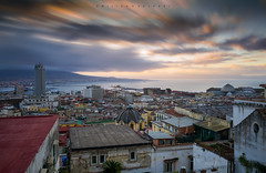 Don't forget those moments you enjoyed the silence. (Emykla) Tags: napoli sunrise alba cielo sky city città buildings palazzi longexposure nikond3100 campania golfo roofs tetti case