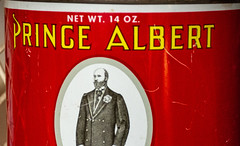 The Prince (danbruell) Tags: antique housewares americana princealbert can red metal tin