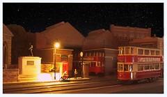 Night tram (kingsway john) Tags: green london transport tram depot kennington cross oo gauge 176 scale model diorama layout kingsway models dark sky