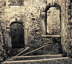 Exploring the alleys of Capestrano by night #1 (Mario Ottaviani Photography) Tags: sony sonyalpha italy italia paesaggio landscape travel adventure nature scenic exploration view vista breathtaking tranquil tranquility serene serenity calm marioottaviani viaggio avventura natura esplorazione excursion escursione capestrano abruzzo exploring alleys night esplorare vicoli notte monochrome monocromatico
