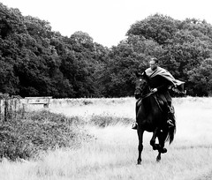 Richmond Park (mrdamcgowan) Tags: manonhorse london londonist monochromelondon blackandwhitelondon gallopinghorse londonhorses richmondpark