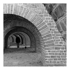 Under seven arches you have to go... (rcfed) Tags: canon digital monochrome arches people pug light shadow stone