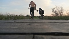 wet guy on bridge (marcostetter) Tags: nature barefoot jeans wetjeans wetlook wet wetclothing wetclothes wetpants landscape bodyart bluejeans topless alone swamp moore bike bicycle fahrrad
