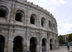 Cyclist and arena, Nimes, Gard, France. (Roly-sisaphus) Tags: southoffrance nimes travel