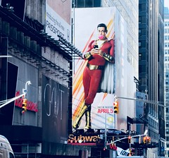 Shazam The Big Red Cheese Billboard 42nd St NYC 4327A (Brechtbug) Tags: shazam billboard 42nd street new captain marvel the big red cheese poster ad nyc 2019 times square movie billboards york city work working worker paint painting advertisement dc comic comics hero superhero alien dark knight bat adventure national periodicals publication book character near broadway shield s insignia blue forty second st fortysecond 03202019 lightning flight flying march