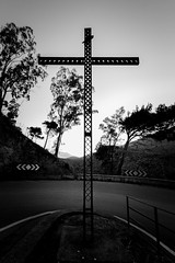 Sign of the Cross (faster3ck) Tags: palermo italy sicilia cross monochrome sky sunset silhouette spirituality street old nature architecture structure mountain landscape wideangle blackandwhite blackandwhitephotography bwphotography perspective geometry symmetry lightandshadow traveling travel visit visiting bw