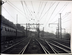 Clifton Hill line at exit from Princes Bridge showing combined signal and tension structure. (Public Record Office Victoria) Tags: railways train electrification blackandwhite archives victoria clifton hill princes bridge signal tracks 1919
