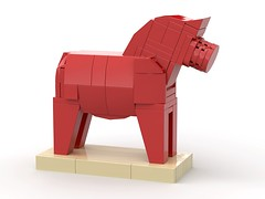 Dalahäst - Traditional Swedish Dalecarlian wooden horse (gonkius) Tags: lego swedish horse moc toy wood red dala