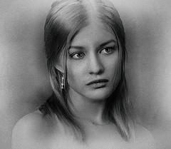 Girl 2 (Bill Eiffert) Tags: girl blackandwhite texture hdr topaz nik portrait person beauty layers