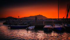 sunset in Acquamorta, Monte di Procida, Italy (FedeSK8) Tags: campania campaniafelix fedesk8 federicoscottophotography fujifilmxm1 italia italy fedescotto montediprocida sunset strong color mediterranean sea ischia boats sun surreal
