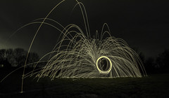 Electro light (Trigger1980) Tags: wire wool light painting wirewool fisheye fields nikon nikond7000 nite night fire west sussex photography wide d7000 camera park spinning
