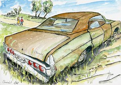 Chevrolet 4 door Impala 1968 (Loran de Cevinne) Tags: lorandecevinne loran aquarelle artwork artistic watercolor watercolour drawing dessin draw epave wreck rustycar americancars vintageautomotive automotiveartistry chevrolet 1968 chevrolet1968 abandonedcar croquis illustration chevroletimpala 4door chevy chevyimpala