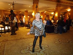 I Am Trying To Show Off . . . (Laurette Victoria) Tags: laurette woman boots pleather leggings hotel lobby milwaukee pfisterhotel