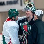 Marcus Foligno & Devan Dubnyk at Minnesota Wild open practice at Tria Rink in St Paul, MN thumbnail