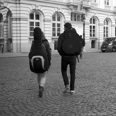 Backpacking (Spotmatix) Tags: 1650mm belgium brussels camera effects lens monochrome nex6 places sony street streetphotography zoomstd
