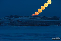 Rise of the Snow Moon (kevin-palmer) Tags: snowmoon supermoon fullmoon luna moonrise february winter lakedesmet frozen ice icy blue twilight evening composite rising buffalo wyoming nikond750 nikon180mmf28 tamron14xteleconverter hills yellow telephoto night sky astronomy astrophotography
