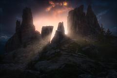 [ ... the five towers ] (D-P Photography) Tags: landscape landschaft italien italy dolomites dolomiten cinque torri mountains sunrise sun light glow dark europe feisol dennispolkläser dpphotography canon canoneos5dmarkiii
