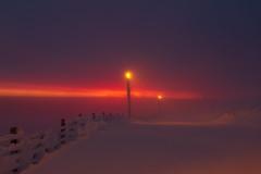 morning blizzard (kirill3.14) Tags: wind resort skiing sunrise winter snowstorm finland dawn frost outdoor suomi snow morning lapland snowboarding slopes sky levi blizzard mist light polarnight snowfall fence