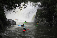 And the kayaking team cheers, he made it down the Cascades! (Pamela Jay) Tags: kayaking crystalcascades freshwatercreek torrent rain waterfall beautiful nature wet cyclonetrevor sunday23march2019 queensland tropical rainforest pamelajay