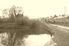 P1390970.   Lock 15 and bridge, looking south, Marple   (Peak Forest Canal)   April 2019 (dave_attrill) Tags: lock marple peakforest canal towpath peakdistrict nationalpark cheshire cheshirering oldknow april 2019 sepia