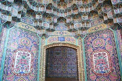 iran dec 18 (73) (gerboam) Tags: iran islamic republic december 2018 mosque onion dome tiles palm tree courtyard rain pool arch decoration islam muslim persia