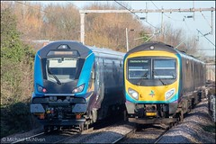 The New and The Old (Mike McNiven) Tags: transpennine express siemens desiro manchesterairport airport cleethorpes internationaldepot caf mk5a drivertrailer 12809 gatley railway rail train loco locohauled locomotive crewe bletchley carlisle