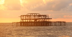The Remains of the Day (richardr) Tags: brightonandhove brighton sussex ruin derelict decay ruins pier westpier sea seaside water sunset eastsussex building architecture england english britain british greatbritain uk unitedkingdom europe european old history heritage historic victorianarchitecture victorian victoriana 19thcentury nineteenthcentury