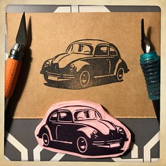 A freshly carved Volkswagen Bug rubber stamp! 🚗🚗 #rubberstamp #craft #make #create (Brian Lapsley) Tags: rubberstamp craft make create