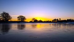 Sunrise (Rui Nunеs) Tags: sunrise pond mogshade newforest aonb hampshire southampton uk england snow ice frost lake trees silhouette backlit