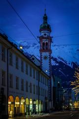 Innsbruck (Yayawol) Tags: autriche austria österreich innsbruck mariatheresienstrasse ruemariethérèse stadt ville city città zentrum servitenkirche servitechurch églisedesservites heurebleue bluehour blauestunde rue strasse street altstadt