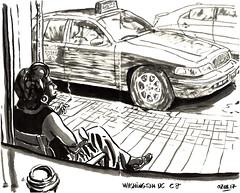 smoker (sylvain.cnudde) Tags: woman cigarette ford fordcrown washingtondc usa sketch usk urbansketch citysketch taxi cab taxicab rockcreekcab
