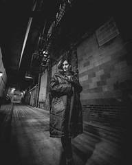Cold alley (joshhansenmillenium) Tags: canon canon6d 6d photography night sunset city urban modeling model freelance river ohio cincinnati covington longexposure long exposure ferris wheel ferriswheel bw portrait bokeh