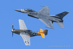 "USAF Heritage Flight: P-51D Mustang ""Spam Can"" & F-16C Fighting Falcon (Norman Graf) Tags: 940042 aircraft airplane heritageflight generaldynamics aerobatics stevehinton spam can f16c tacticaldemonstrationteam p51d p51 majjohnrainwaters f16 2017f16viperdemoteam airshow 2017fleetweeksanfrancisco northamerican dolly spamcan 4472861 472861 fighter fightingfalcon jet mustang nl544iv plane sw viper wwii warbird"