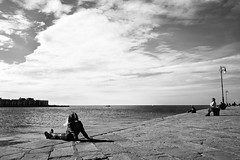 Relax on the sea (Giulio Magnifico) Tags: candid friuli leica relax italy harbor cloud dock leicaq backlight sunny friuliveneziagiulia 28mm blackandwhite trieste