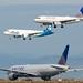 United 777 -200 N768UA waiting, Alaska N85?VA, United N836UA, A320 -200  landing, runways 28, SFO DSC_0152 (1)